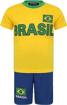 Aelstores Fútbol Pantalones Cortos de Verano Niños Nuevas niñas Camiseta Superior Conjunto de Chaleco Tamaño del Juego Edad 3-14 años
