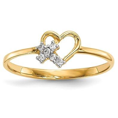 cb486b2ef601 Hielo quilates 14 K amarillo oro corazón cúbico zirconia CZ Cruz religiosa  banda anillo S Amor fina joyería Set de regalo para las mujeres Corazón   ICE ...