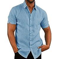 Camisa de Manga Corta para Hombre Camisas Informales de Verano Camisa Suelta de Ocio de Color Sólido con Botónes Top…