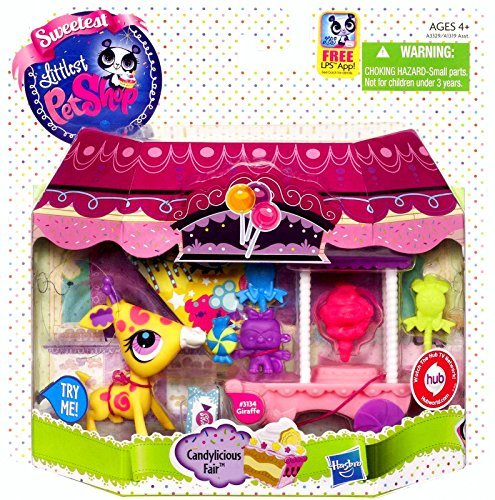 Littlest Pet Shop Sweetest Giraffe Candylicious Carnival Fair Playset with LPS App Hasbro Toy