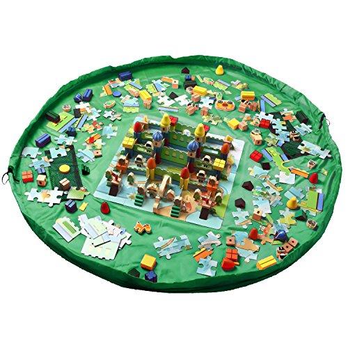 Spielzeugsack,Myguru® 150cm Kinder Spieldecke Spielzeug Speicher Tasche Aufbewahrung Aufräumsack Beutel Spielzeugaufbewahrung Aufbewahrungstasche Spielmatte (grün)