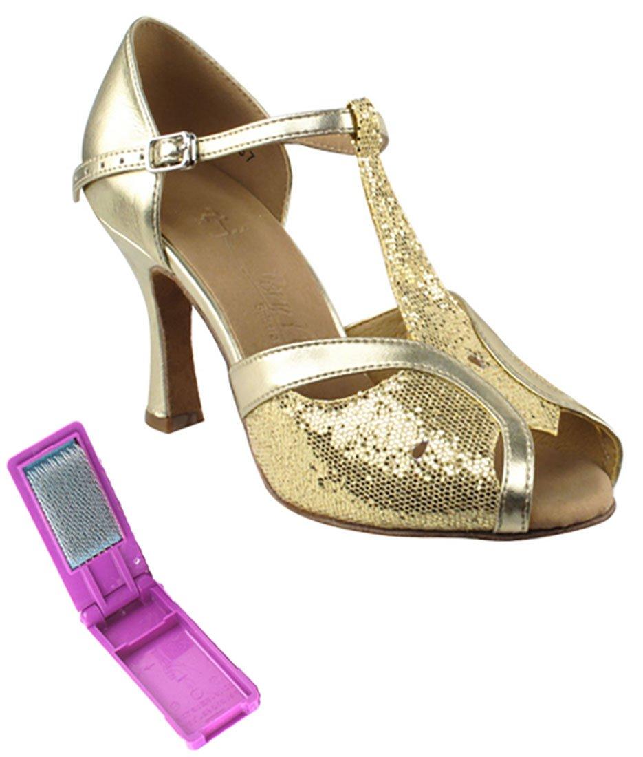Very Fine Ballroom Latin Tango Salsa Dance Shoes for Women SERA2800 2.5-inch Heel + Foldable Brush Bundle - Gold Scale-Light Gold - 7.5