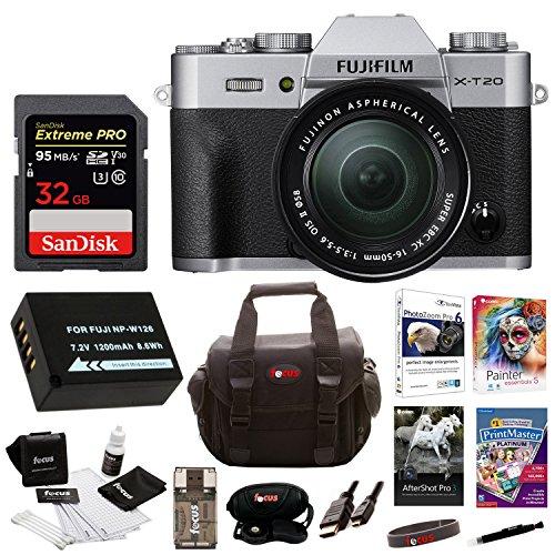Fujifilm X-T20 Camera Body w/ XC16-50mm Lens Kit & Memory Card Bundle (32GB)