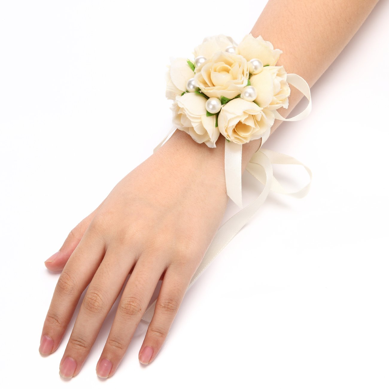 FAYBOX-Girl-Bridesmaid-Wedding-Wrist-Corsage-Party-Prom-Hand-Flower-Decor-Pack-of-2-Champagne