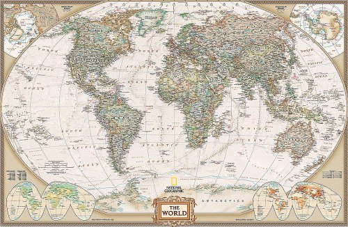 National Geographic's Executive World Map Wall Mural -- Self-Adhesive Wallpaper in Various Sizes by Magic Murals