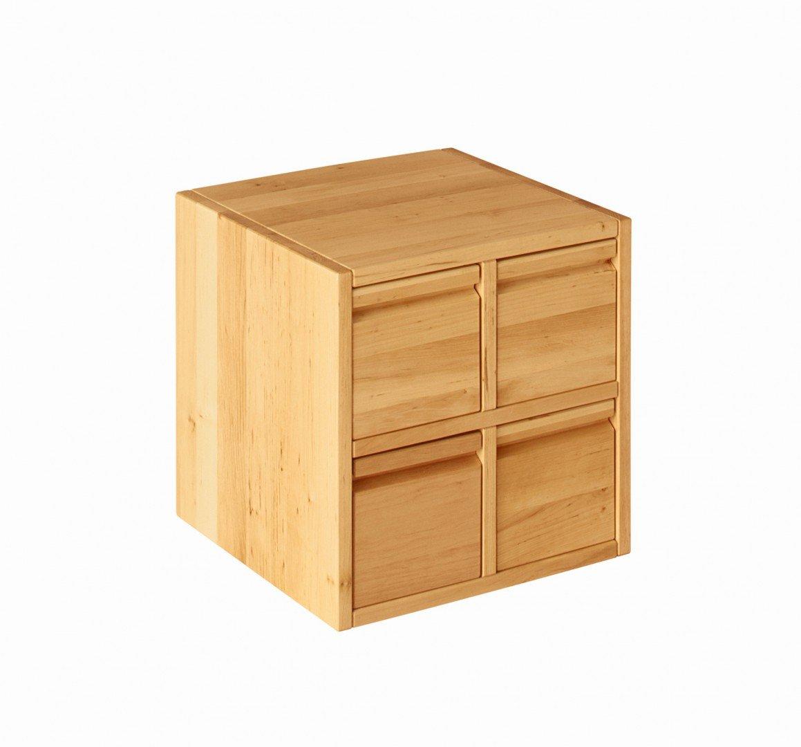 BioKinder 23414 Laura Spar-Set Regalwürfel Office mit Vier Schubladen aus Massivholz Erle 40 x 40 cm