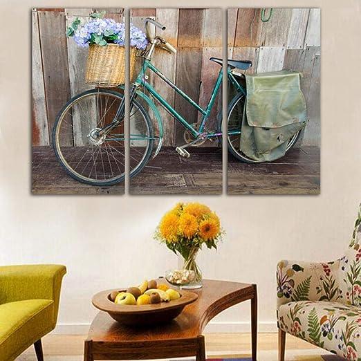 3 lienzo mural sala de estar cuadros bicicleta y cesta de flores ...