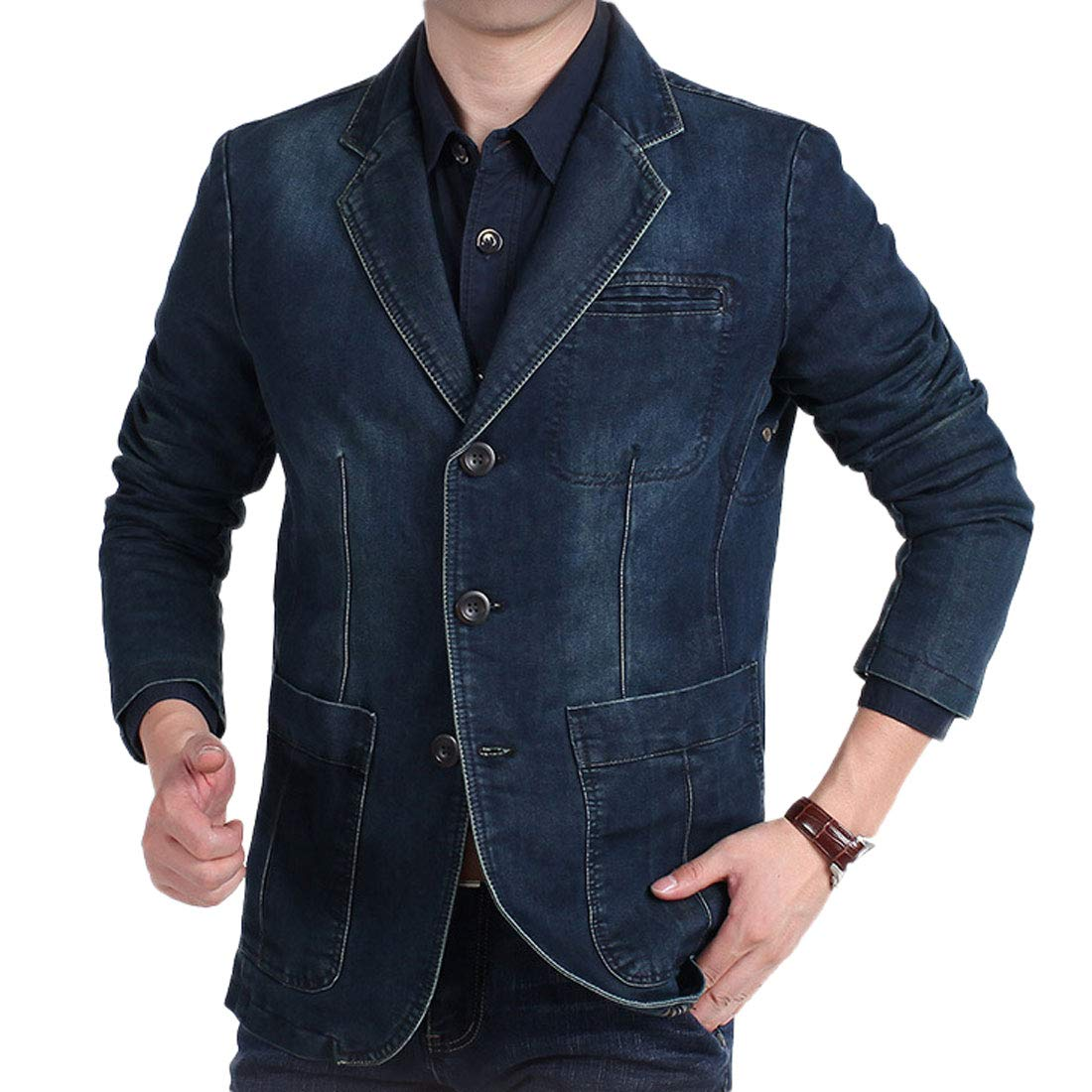 Chartou Mens Casual Notched Collar 3 Button Slim Corduroy-Twill Blazer Jacket