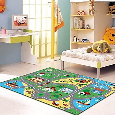 City Street Map Children Learning Carpet Play Carpet Kids Rugs Boy Girl Nursery Bedroom Playroom Classrooms Play Mat Children's Area Rug by furnishmyplace