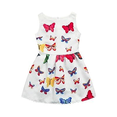 Jarsh New Summer Kid Toddler Baby Girls Bohemia Butterfly Printed Tropical Style Short Sleeveless Dress