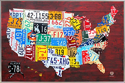 License Plate Map of the US Poster in a Silver Metal Frame (24x36) - License Map Plate
