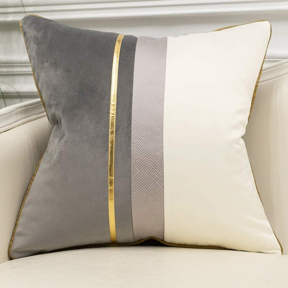 Avigers 18 x 18 Inches Gray White Gold Leather Striped Patchwork Velvet Cushion Case Luxury Modern Throw Pillow Cover Decorative Pillow for Couch Living Room Bedroom Car
