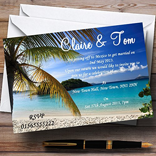 Palm Tree Beach Abroad Personalized Wedding Invitations
