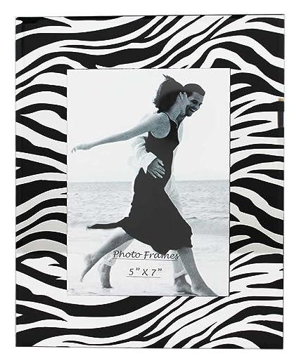 Amazon.com - Glass Picture Frame Zebra Black With Mirror 5x7 -