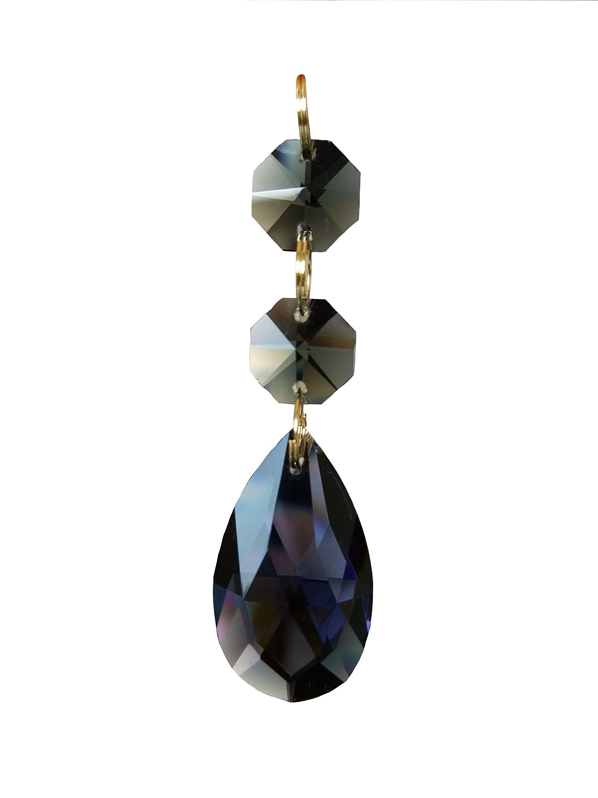 38mm Teardrop Pendants Chandelier Crystal Prisms Pendants Glass Pendants Beads, Pack of 10 (Transparent Black)