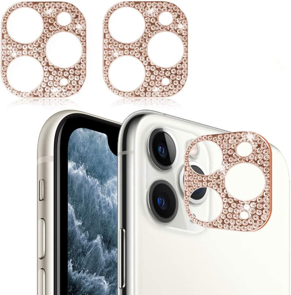Bling Crystal Camera Lens Protector for iPhone 11 Pro/iPhone 11 Pro Max, 2 Pack Camera Back Cover 3D Bling Diamond Lens Protective Decoration Sticker- Rose Gold