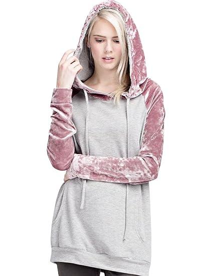 fae9a9f52c34c Sweat Long a Capuche Femme Pull Sweat Shirt à Capuche Sweatshirt Hoodie  Oversize Fille Chaud Large