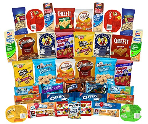 Snack Variety Care Package Gift Box (40 Count) - College Students, Military, Work or Home - Over 3 Pounds of Snacks! (Long Distance Care Package)