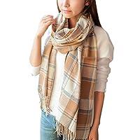 heekpek Damen Kariert Oversized Kaschmir Schal lange Weich Wraps Damen Kariert Oversized Schal lange Schal Für Herbst Winter