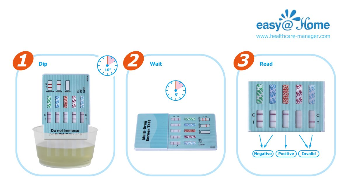 100 Pack #EDOAP-264 Easy@Home 6 Panel Instant Urine Drug Test, test THC,COC,OPI,AMP,MET,BZO - Individually Wrapped 6 Panel Multi Screen Urine Drug Test Kit by Easy@Home (Image #7)