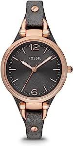ساعة جورجيا للنساء بمينا فضي وسوار جلدي من فوسيل - Es3060