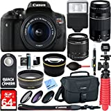 Canon T6i EOS Rebel DSLR Camera w/ EF-S 18-55mm & 75-300mm III Lens Kit + Accessory Bundle 64GB SDXC Memory + SLR Photo Bag + Wide Angle Lens + 2x Telephoto Lens + Flash + Remote + Tripod & More