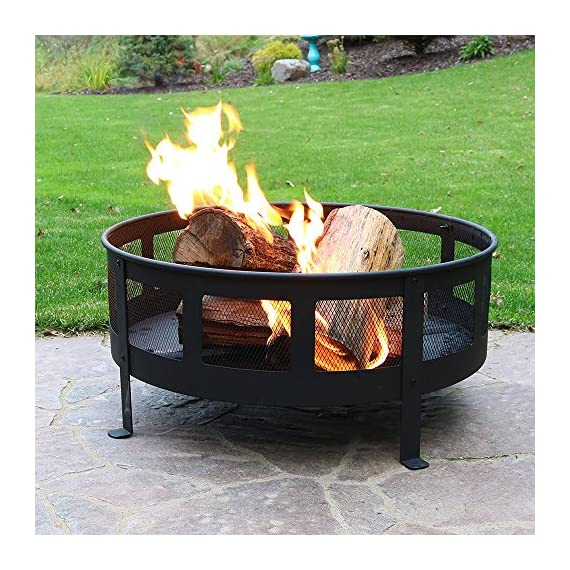 Sunnydaze 30 Inch Bravado Mesh Wood Burning Fire Pit with Spark Screen - Overall dimensions: 30 x 22 inches; weighs 31 pounds Includes: Steel spark screen, fireside poker tool, and vinyl protective cover. Mesh sides for maximum airflow for long lasting fires. - patio, outdoor-decor, fire-pits-outdoor-fireplaces - 619ZjcFRxJL. SS570  -