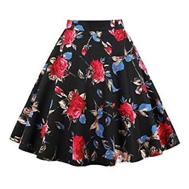 Impreso Falda Swing para A Mujeres Corto Regular Fit Line Ropa ...