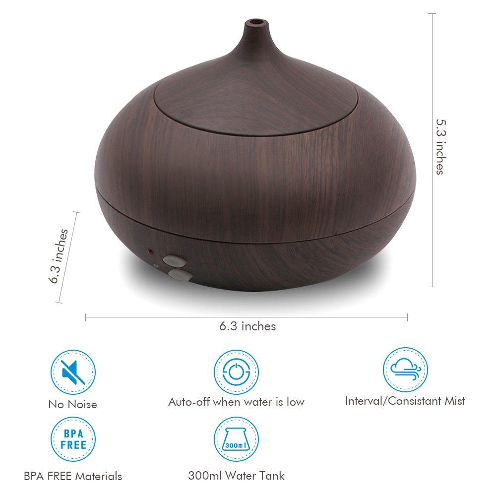 Afloia Aromatherapy Diffuser Eseential Oil Diffuser Ultrasonic Oil Diffuser Cool Mist Humidifiers 300ml Auto Shut-off Wood Diffuser Black