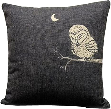 Amazon Com Onker Cotton Linen Square Decorative Throw Pillow Case Cushion Cover 18 X 18 Owl In The Dark Home Kitchen