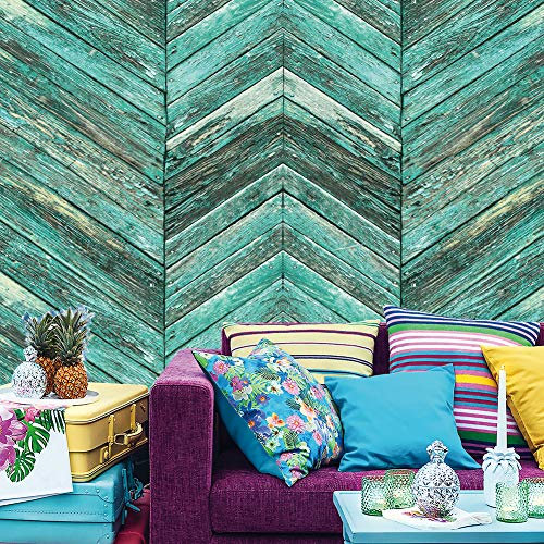 8101 Chevron Wood Wallpaper Rolls, Green/Brown Faux Wood Paneling Wall Paper Kitchen Bedroom Living Room Hotels Cafe Wall Decoration 20.8