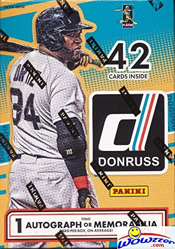 2016 Donruss Baseball Factory Sealed Retail Box with AUTOGRAPH or MEMORABILIA Card & 7 Packs! Look for Cards & Autographs of Kyle Schwarber,Corey Seager,Kris Bryant,Cal Ripken,Mark McGwire & Many More
