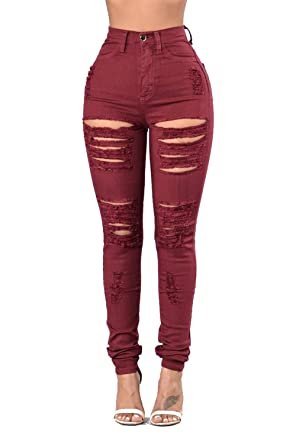 Damengxiang Frauen Enge Jeans Bohrungen Hohe Elastische Hose Wein