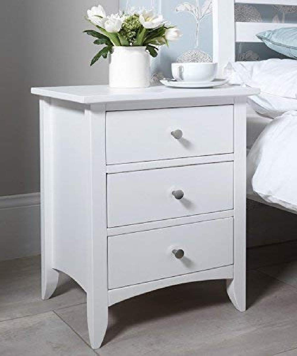 Modway Sheesham Wood Bed Side Table For Bedroom With 3 Drawer Side Table White Finish Amazon In Electronics