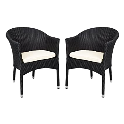 KARMAS PRODUCT 2 PCS Outdoor Rattan Chairs Patio Garden Furniture With Seat  Cushions,Weave Wicker