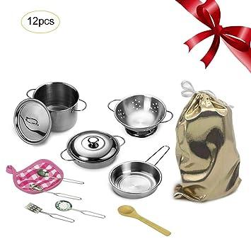 Per Juguetes de Cocinar Utensilios de Cocina Juegos de rol Juguetes de Cocina Pretenden Ollas Sartenes Kits para Niños: Amazon.es: Hogar