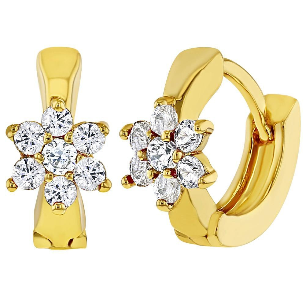 18k Gold Plated Clear CZ Flower Huggie Hoop Earrings for Girls 7mm In Season Jewelry 03-0284
