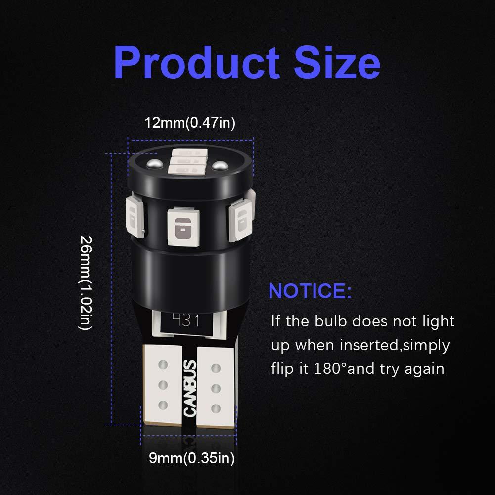 LncBoc Lampadine T10 Luci W5W LED Lampade 194 168 no errore Canbus 9SMD 2835 12V Blu Super Luminoso Per Luci Targa LED Auto Lampadina Posizione Cortesia Interni Targa Lampade confezione da 10