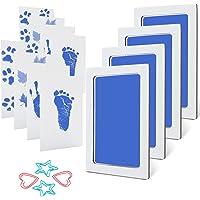 MengNi Baby Footprint and Handprint Ink Pad Kits Pet Paw Print Ink Kits 4 Packs Mediun Size Blue