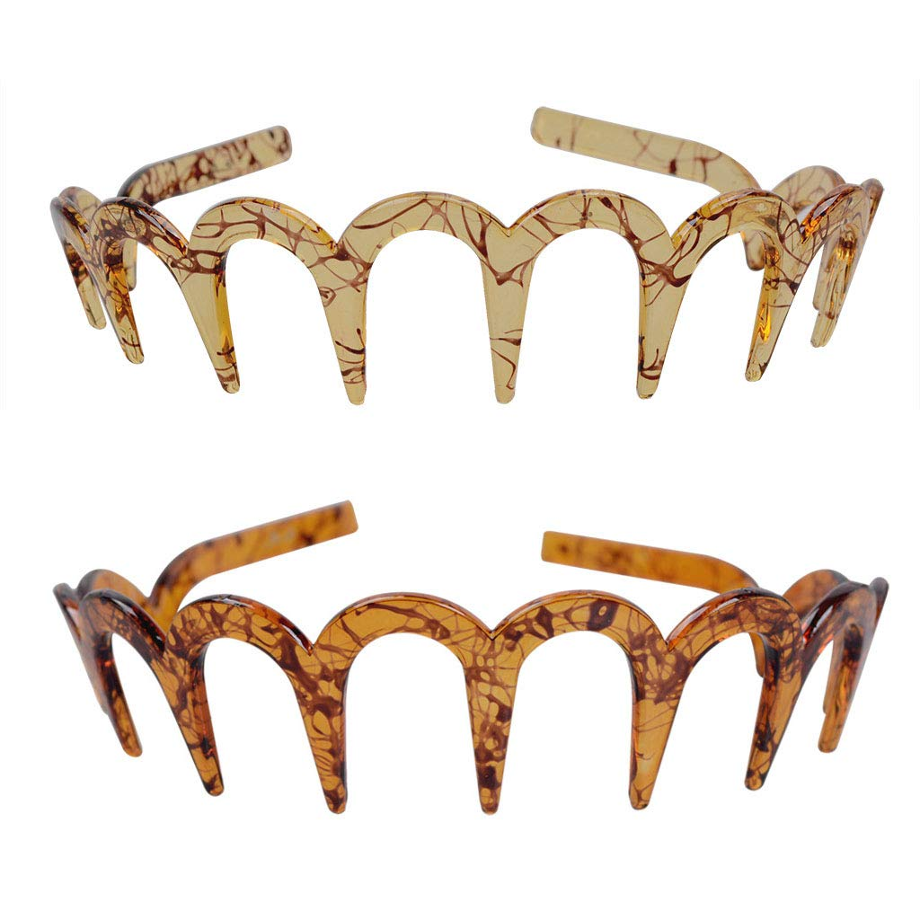 Fodattm 2PCS Zig Zag Shark Tooth Hairband Plastic Headband Hair Comb Women Hair Hoop Hair Accessories (D#)