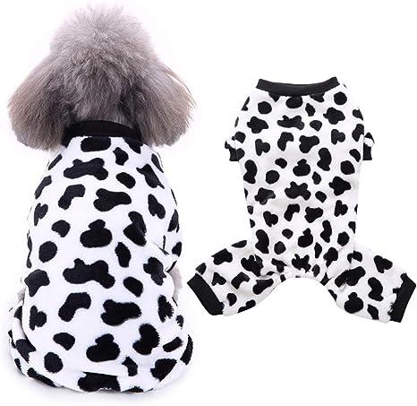 POPETPOP Pijamas para Perros, Patrón de Mancha de Vaca Poliéster, Ropa Suave para Perros Pequeños y Medianos, Perrito, Gatito, Gato - S