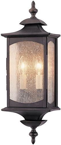 Feiss OL2601ORB Market Square Outdoor Lighting Wall Pocket Sconce, Bronze, 2-Light 7 W x 19 H 120watts