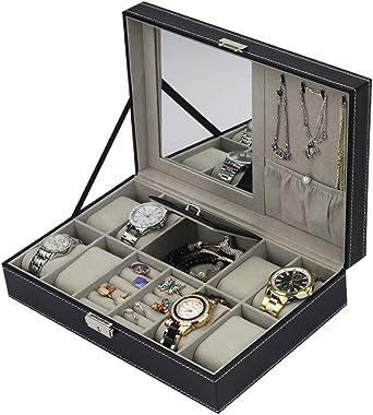 Estuche para Relojes Y Joyeros Organizador, Cuero De PU 8 Slots + 2 Cuadrículas Exhibición Caja De Relojes, Negro: Amazon.es: Relojes