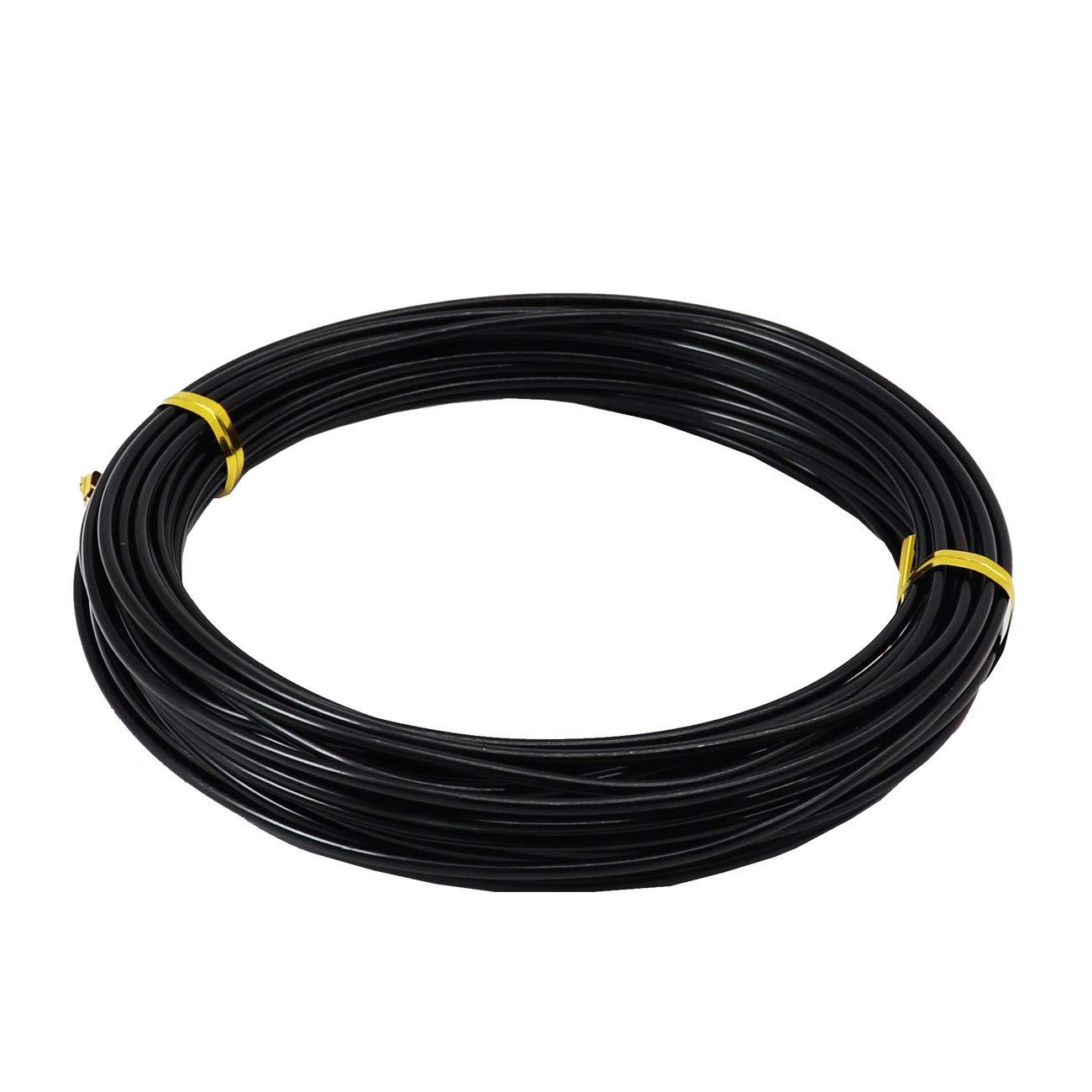 2,0 mm 10 m, alambre de plata para hacer joyas, escultura de bricolaje, modelado y manualidades Rollos de alambre de aluminio KuTi Kai negro.