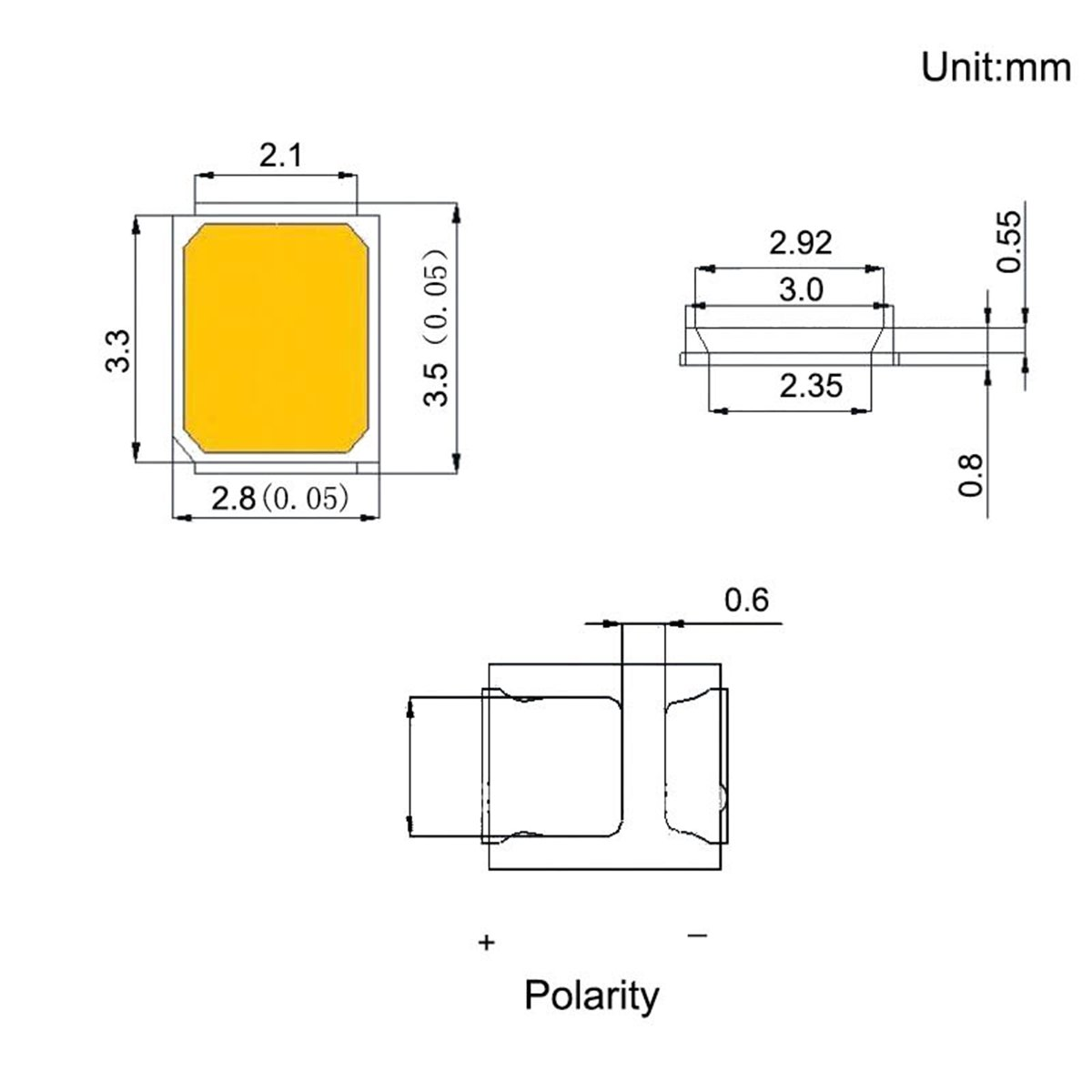Chanzon 100 Pcs 2835 White Smd Led Diode Lights Surface Mount Chip Lcd Tv Schematics In Addition Power Supply Circuit Diagram Further 28mm X 35mm Dc 3v 150ma 05w 50 55lm High Intensity Super Bright Lighting Bulb Lamps