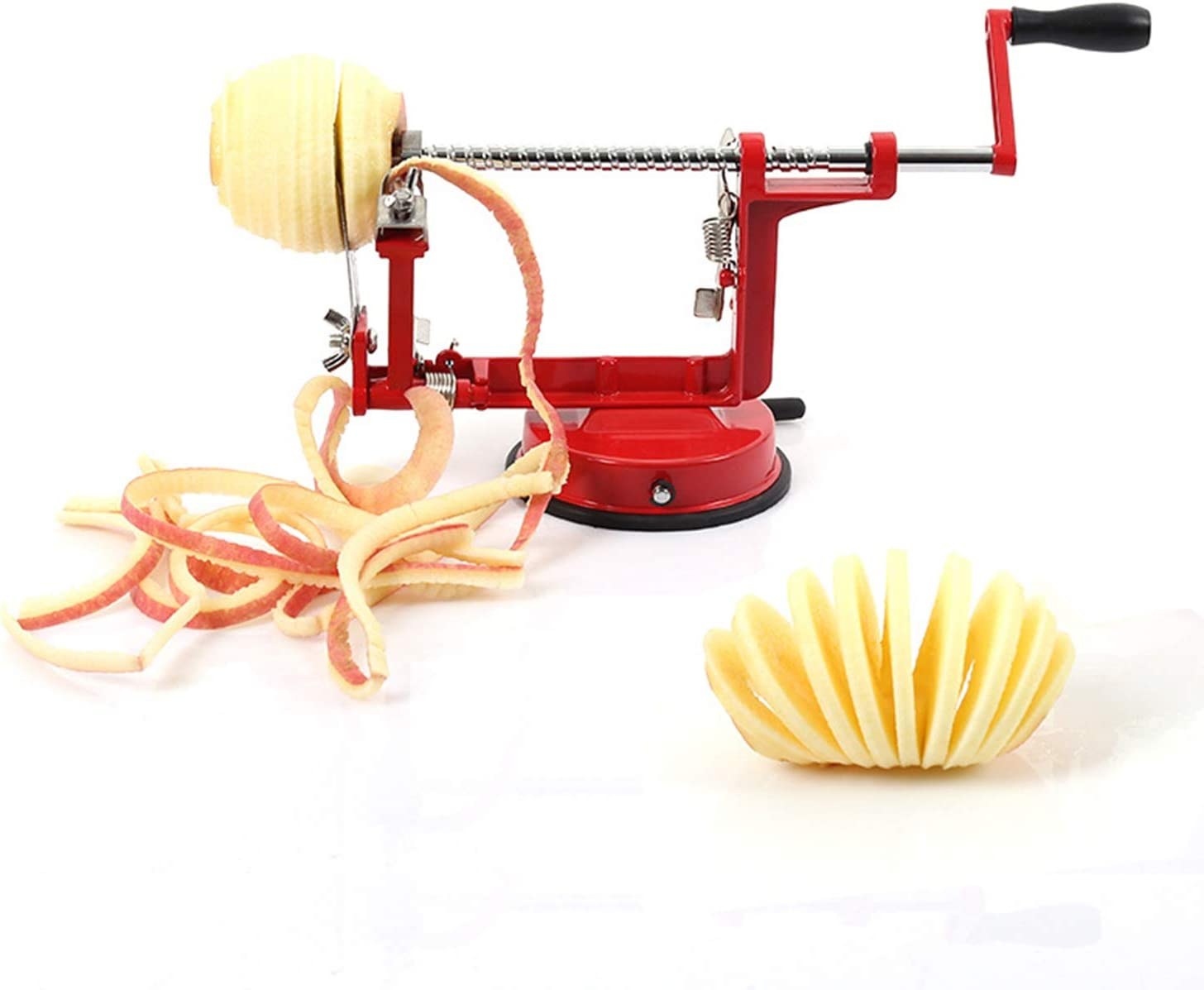 Apple Peeler ULIOLI Apple Corer Slicer Peeler 3 in 1 Spiralizer with Stainless Steel Blades, Heavy Duty Hand-Cranking Potato Peeler with Suction Base, Red