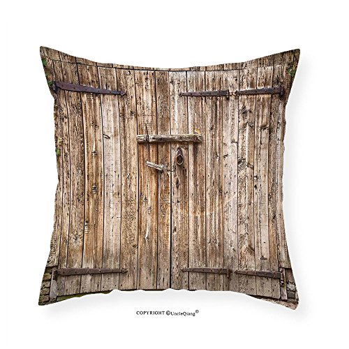 Dec Hinge (VROSELV Custom Cotton Linen Pillowcase Rustic Decor Old Oak Closed Garage Door with Steel Hinges Vintage Typical Cottage Doorway Image for Bedroom Living Room Dorm Tortilla 24