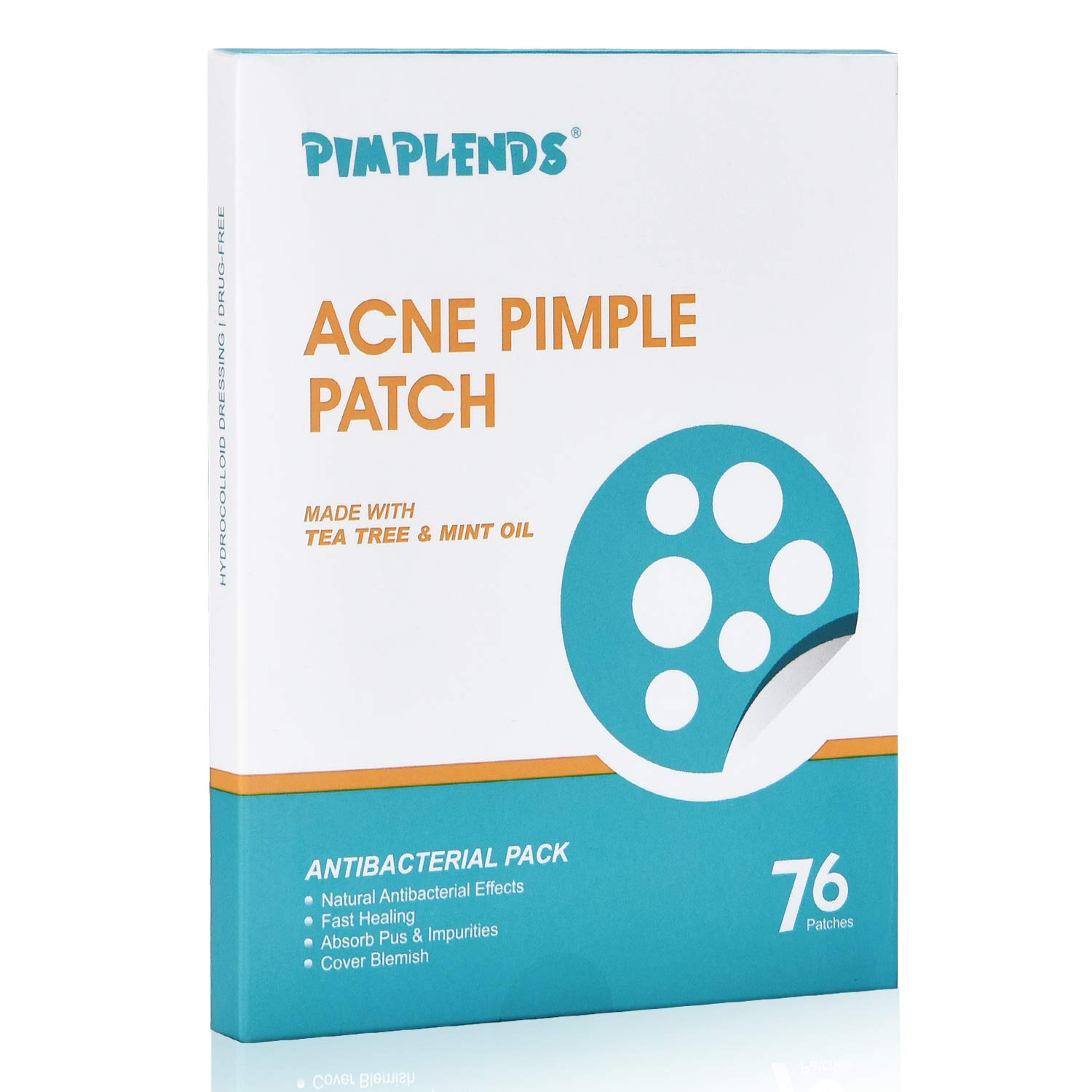 PIMPLENDS Acne Pimple Patch Tea Tree & Mint Oil Pimple Sticker Pimple Dots Acne Cover Patch Acne Treatment Acne Stickers Absorbing Spot Dot | Drug-free Hydrocolloid Bandages 76 Patche