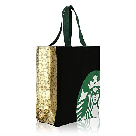c659a7c05089 Starbucks New Logo Black Tote Bag, Golden Decoration Casual Anywhere Canvas  Lunch Bag Handbag Limited Edition Authentic (Medium)
