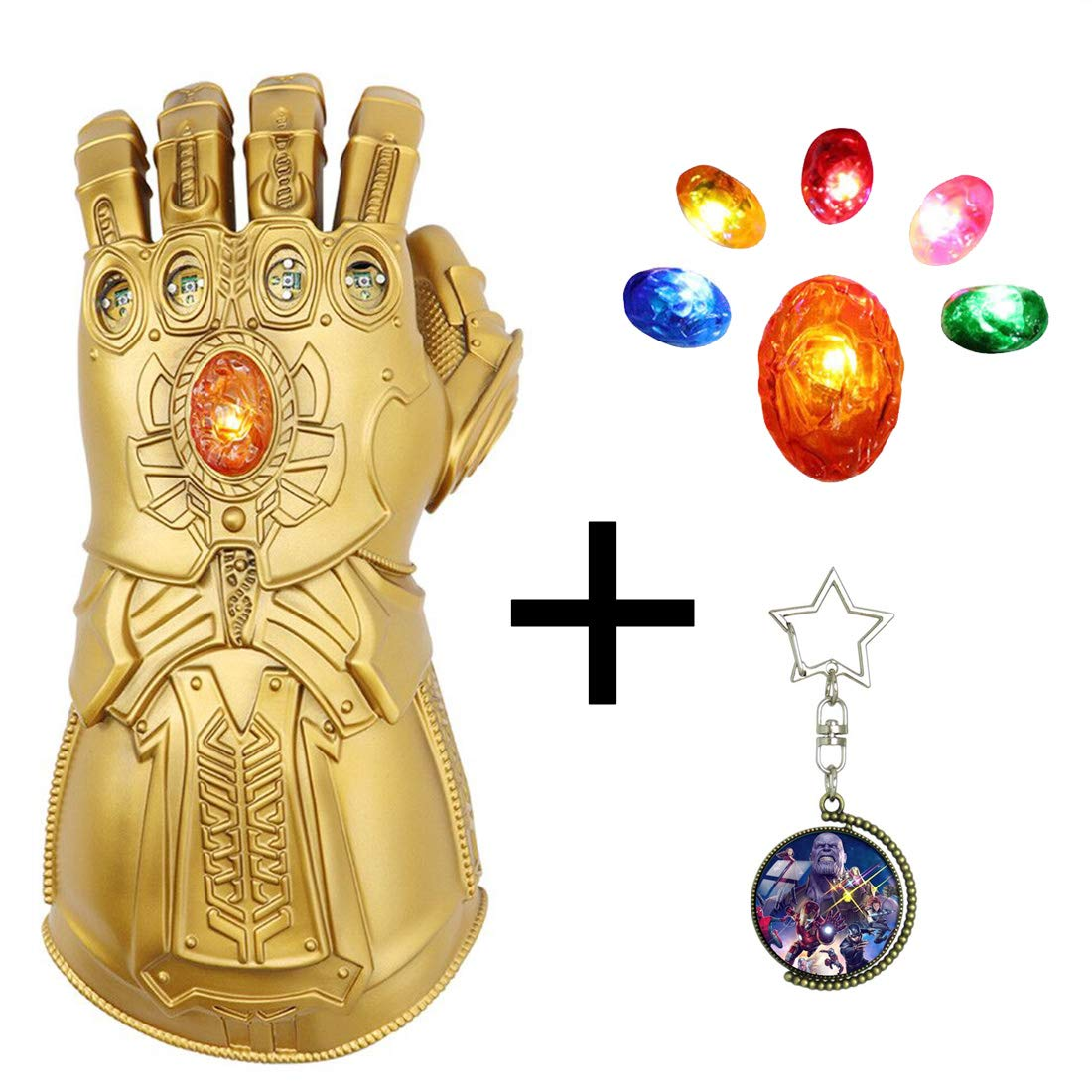 PTYmask Updated Infinity Gauntlet LED Light PVC Gloves Toys for Halloween Props (LED Gems Separable, Adult)